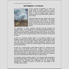 Comprehension September 11 Attacks (elemupper Elem) Abcteach