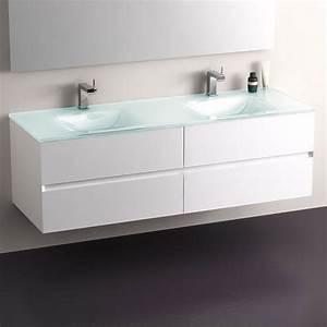meuble salle de bain blanc 150 cm 4 tiroirs plan verre With salle de bain design avec meuble salle de bain 2 vasques blanc