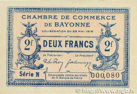 chambre de commerce bayonne 2 francs régionalisme et divers bayonne 1916 jp 021