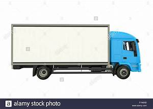 Blue Cargo Truck Isolated on White. Cargo Truck Side View ...