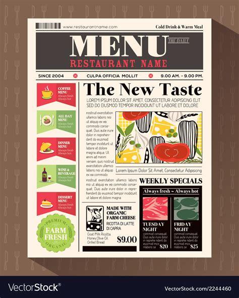 Home Design Newspaper by Restaurant Menu Design Template In Newspaper Style