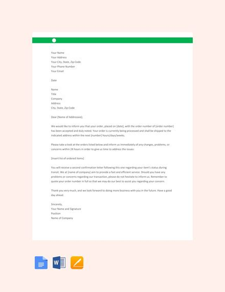 acknowledgment letter examples templates  word