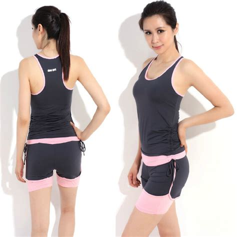 New 2015 Running Gym Workout Wear Clothes Fitness Clothing Womenu0026#39;s Training Sports Suits Yoga ...