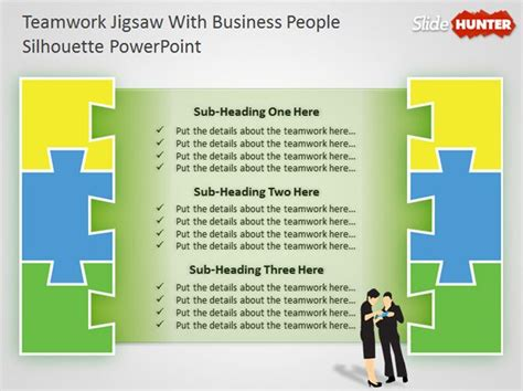 teamwork powerpoint diagram  jigsaw illustration