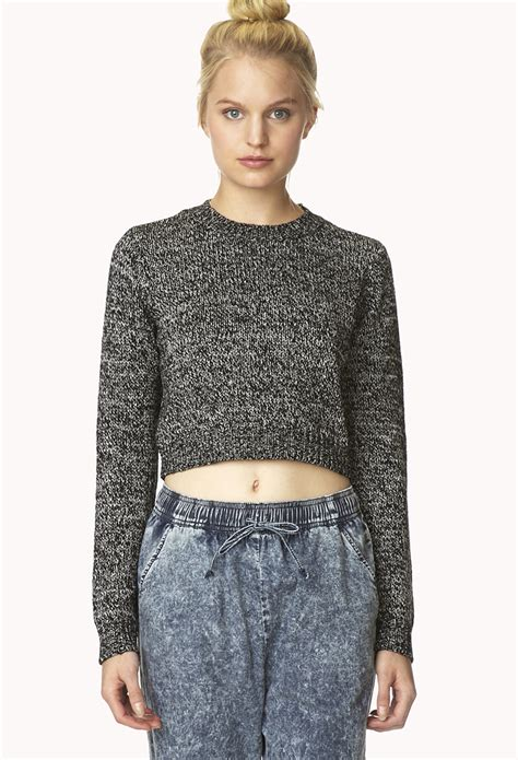 cropped black sweater forever 21 marled moment cropped sweater in black black