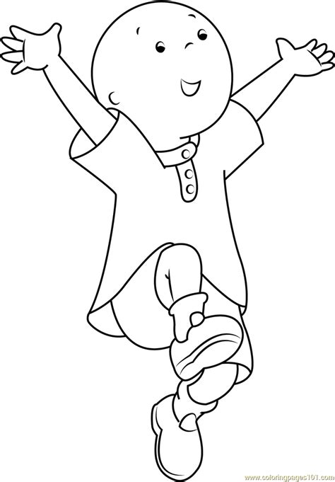 Caillou Printable Coloring Pages Caillou Jumping Coloring Page Free Caillou Coloring