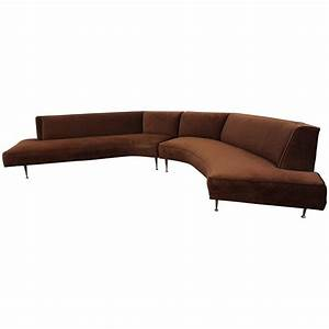 Gorgeous harvey probber style two piece curved sofa for Mid century modern curved sectional sofa