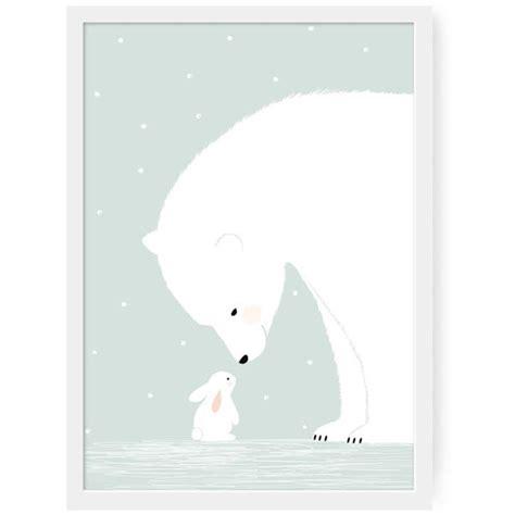 deco ourson chambre bebe affiche chambre bébé zü affiche ours polaire et lapin blanc