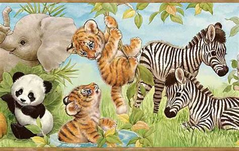 baby zoo animals wallpaper border wallpaper border