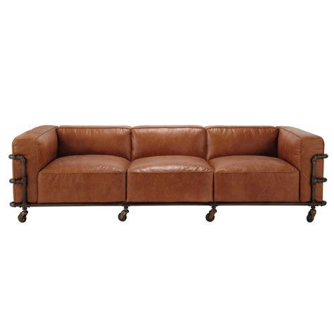 canapé sur roulettes canapé vintage 4 places en cuir havane fabric maisons du