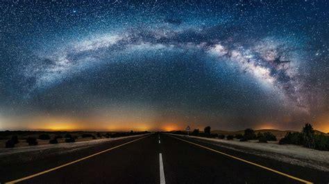 Night Sky Starry Road Wallpapers Desktop