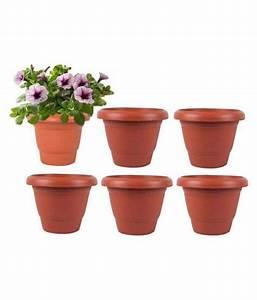 Alkarty, 8, Inch, -, Set, Of, 6, Brown, Plastic, Flower, Pot, Pots, Planters, Buy, Alkarty, 8, Inch