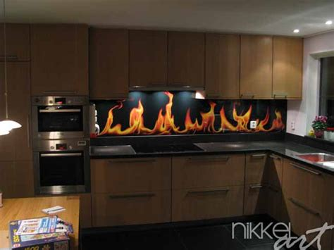 credence de cuisine en verre crédence de cuisine en verre imprimé flamme