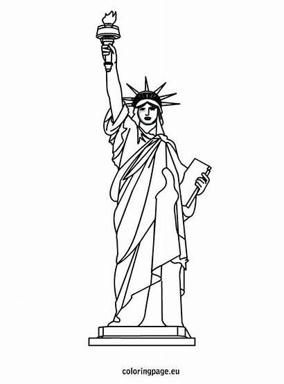 Liberty Statue Coloring Sheet Drawing July Printable