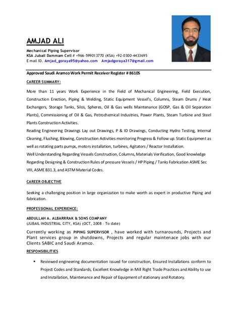 Piping Construction Supervisor Resume by Amjad Cv Pipeing Sup 2016