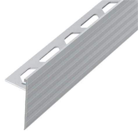 Tile Stair Nosing Home Depot by Schluter Schiene Step Satin Nickel Anodized Aluminum 3 8