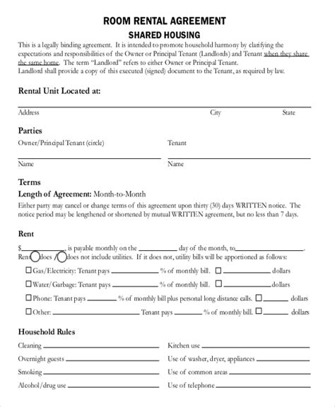 room rental agreement  business template