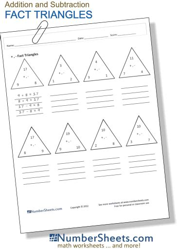 fact triangles reinforce basic addition and subtraction