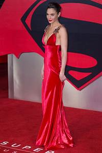 Gal Gadot Deep V-neck Red Carpet Dress Batman V Superman ...