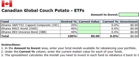 rebalance  couch potato portfolio