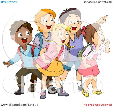 Clipart of a Group of Excited Diverse School Children ...