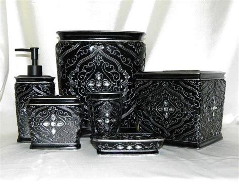 rhinestone bathroom accessories sets 6 pc bath accessory set black silver rhinestone