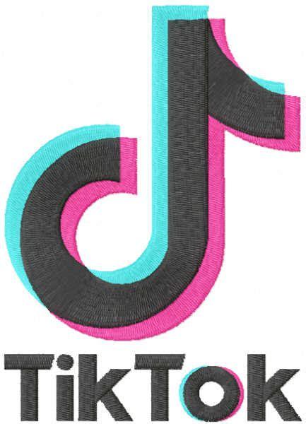 tik tok full logo embroidery design