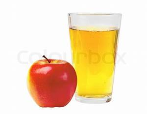 Glass of apple juice and red apple isolated on white ...