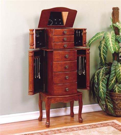 Jewelry Armoire by Powell Classic Cherry Jewelry Armoire Overpacked Top Lid