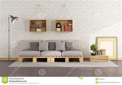 livingroom bench living room with pallet sofa stock illustration