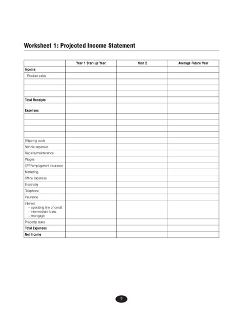 projected income statement template   templates