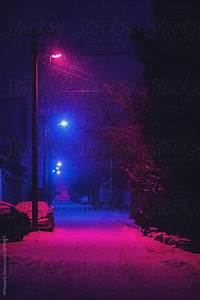 Street, At, Night, Covered, With, Snow, And, Illuminated, With, Spotlights