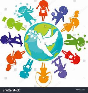 Cute Children Silhouettes Around World Pigeon Stock Vector ...