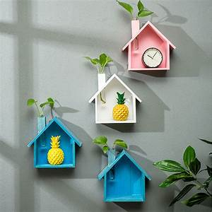 Kids, Decoration, In, Room, Wood, Wall, Decor, Cute, Small, House, Wall, Storage, Shelf, Hanging, Ornaments