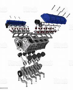 Car Engine Parts Exploded View Stock Photo