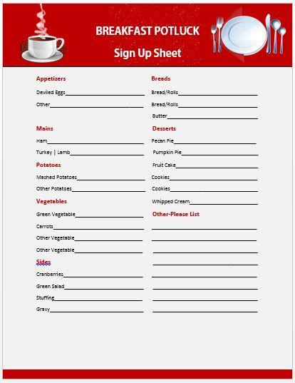 Food Sign Up Sheet Template 13 Charming Breakfast Potluck Sign Up Sheets Free Word Templates Demplates