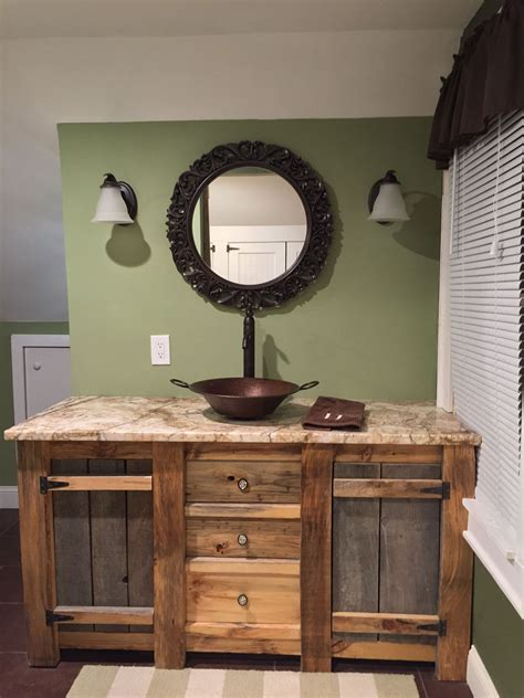 custom barnwood vanity blue house rustic bathroom