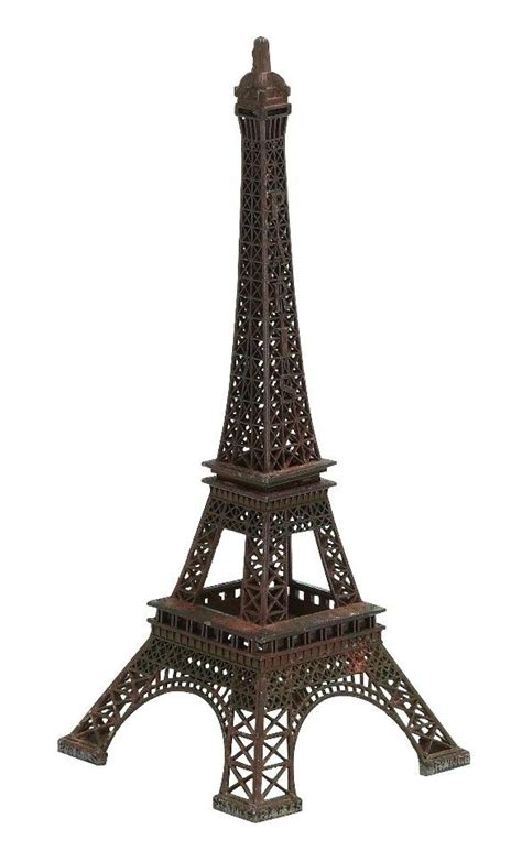 small eiffel tower replica statue crafted metal rust brown