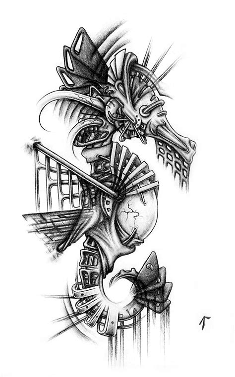 I draw biomechanical things. This is my seahorse :D