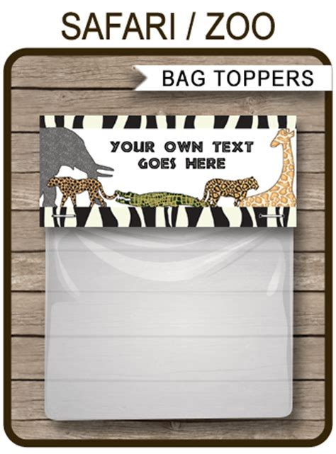 safari party favor bag toppers zoo  safari theme party