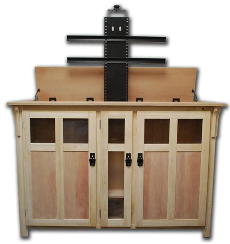image of tv lift cabinets for flat the bungalow unfinished tv lift cabinet for flat screen