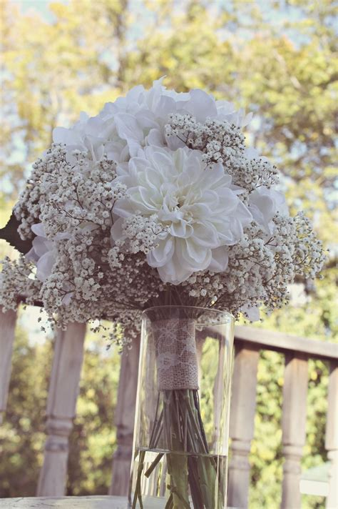 Simple All White Rustic Bouquet Made Of Real Babys