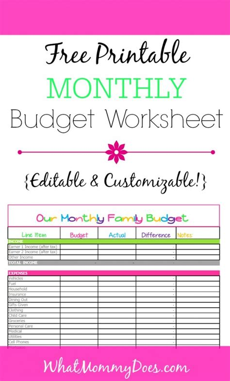 monthly budget template cute design  excel
