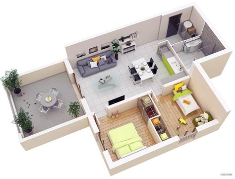20 More 2 Bedroom 3d Floor Plans Home Decoratings And Diy