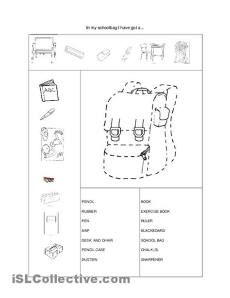 school objects worksheet for kindergarten 9 best images of school classroom objects worksheets