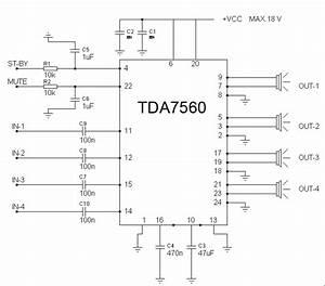 4x55w Audio Circuit Diagram Using Tda7560
