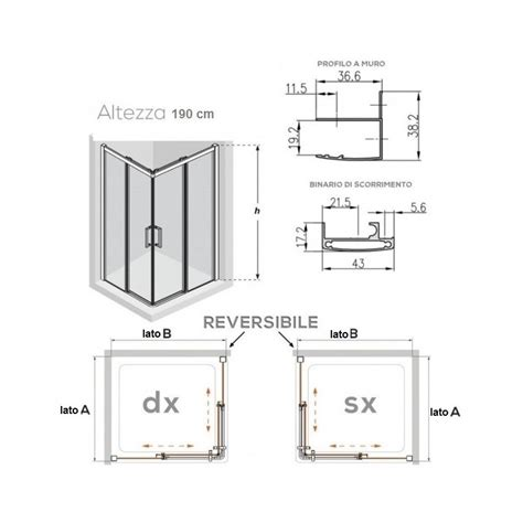 Altezza Cabina Doccia by Altezza Standard Box Doccia