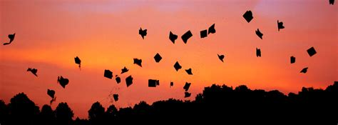 graduation hats flying  sunset facebook cover