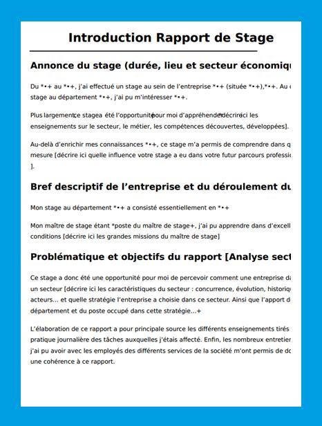 rapport de stage 3eme cabinet exemple dintroduction dun rapport de stage de 3eme