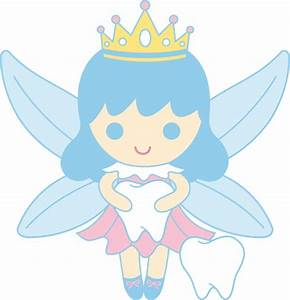 Cute Tooth Fairy Collecting Teeth - Free Clip Art